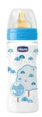 CHICCO BIBERON FISIOL  LATEX AZUL 330 ML